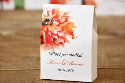Pudełeczko stojące na cukierki, podziękowania dla Gości weselnych - Malowane Kwiaty nr 5 - Pomarańczowe - dodatki ślubne