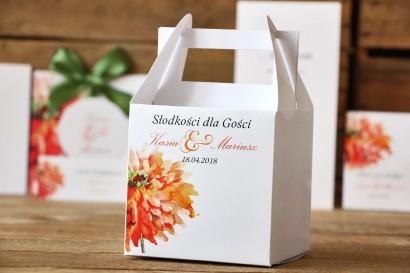 Pudełka na ciasto kwadratowe - Malowane Kwiaty nr 5 - Pomarańczowe - dodatki ślubne, tort weselny