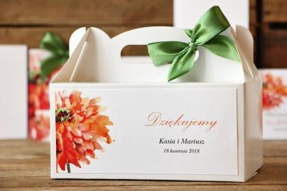 Pudełko na ciasto, tort weselny, prostokątne - Malowane Kwiaty nr 5 - Gerbery - dodatki ślubne