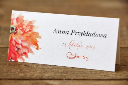 Winietki na stół weselny, ślub - Malowane Kwiaty nr 5 - Pomarańczowe - dodatki ślubne