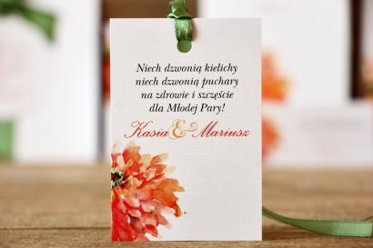 Zawieszka na butelkę, wódka weselna, ślub - Malowane Kwiaty nr 5 - Pomarańczowe gerbery - dodatki ślubne