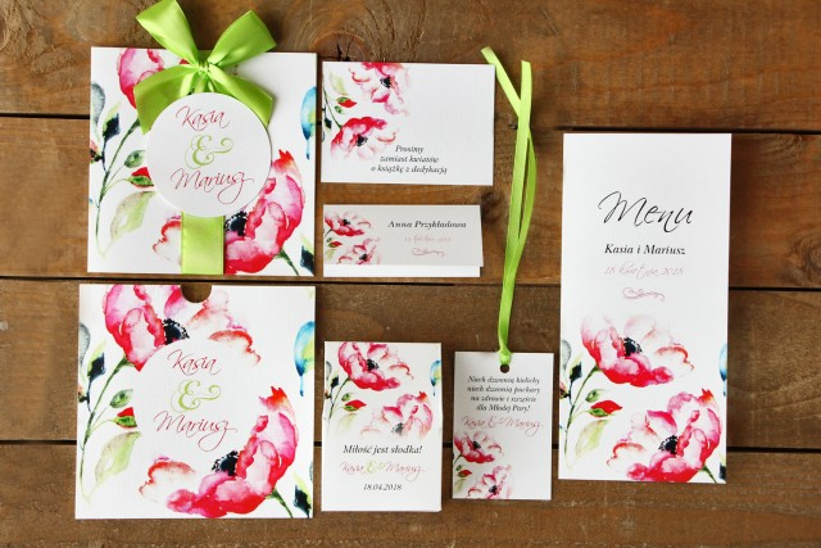 Zaproszenia ślubne z dodatkami - Malowane Kwiaty nr 6 - Amarantowe kwiaty -  papeteria ślubna