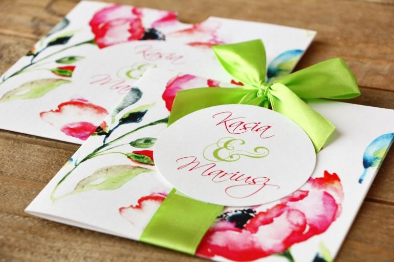 Zaproszenie ślubne w etui - Malowane Kwiaty nr 6 - Amarantowe anemony