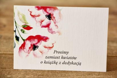Bilecik do zaproszeń 105 x 74 mm - Malowane Kwiaty nr 6 - Amarantowe anemony