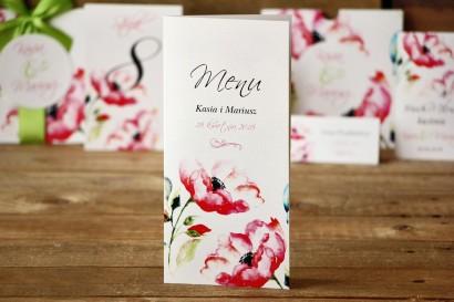 Menu weselne - Malowane Kwiaty nr 6 - dodatki ślubne, akcesoria na stół weselny