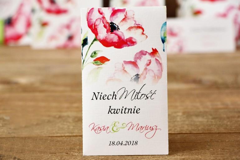 Podziękowania - Nasiona Niezapominajki - Malowane Kwiaty nr 6 - Amarantowe anemony - dodatki ślubne