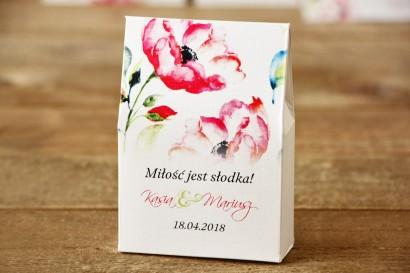 Pudełeczko stojące na cukierki, podziękowania dla Gości weselnych - Malowane Kwiaty nr 6 - Amarantowe anemony - dodatki ślubne