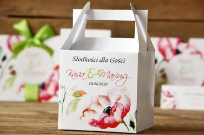 Pudełko na ciasto kwadratowe - Malowane Kwiaty nr 6 - Anemony - dodatki ślubne, tort weselny