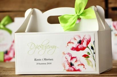 Pudełko na ciasto, tort weselny, prostokątne - Malowane Kwiaty nr 6 - Anemony - dodatki ślubne