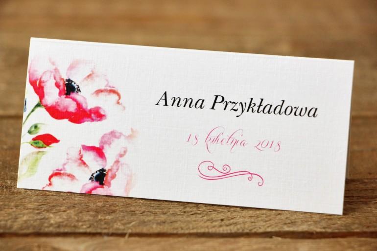 Winietki na stół weselny, ślub - Malowane Kwiaty nr 6 - Amarantowe anemony - dodatki ślubne