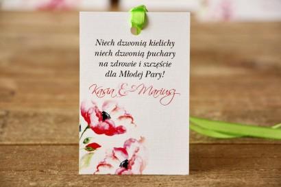 Zawieszka na butelkę, wódka weselna, ślub - Malowane Kwiaty nr 6 - Amarantowe anemony - dodatki ślubne