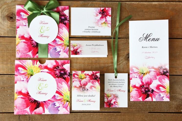 Zaproszenia ślubne z dodatkami - Malowane Kwiaty nr 7 - Amarantowe kwiaty - papeteria ślubna