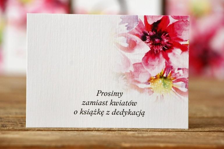 Bileciki do zaproszeń 105 x 74 mm - Malowane Kwiaty nr 7 - Różowe kwiaty