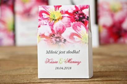 Pudełeczko stojące na cukierki, podziękowania dla Gości weselnych - Malowane Kwiaty nr 7 - Amarantowe kwiaty - dodatki ślubne
