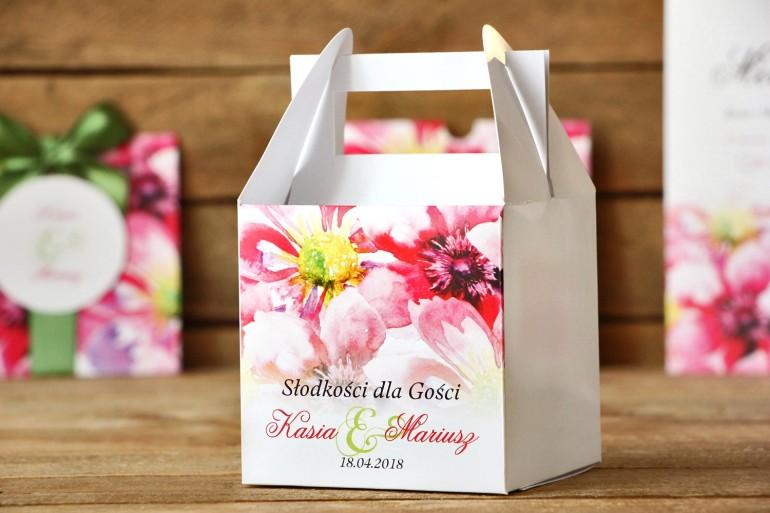 Pudełko na ciasto, tort weselny, kwadratowe - Malowane Kwiaty nr 7 - Moc kwiatów - dodatki ślubne
