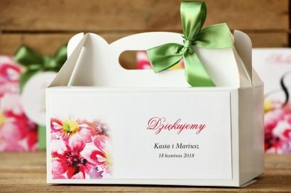 Pudełko na ciasto, tort weselny, prostokątne  - Malowane Kwiaty nr 7 - Moc kwiatów - dodatki ślubne