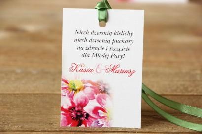 Zawieszka na butelkę, wódka weselna, ślub - Malowane Kwiaty nr 7 - Moc kwiatów - dodatki ślubne