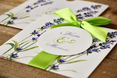 Zaproszenia ślubne w etui - Malowane Kwiaty nr 8 - Lawenda - z kokardą