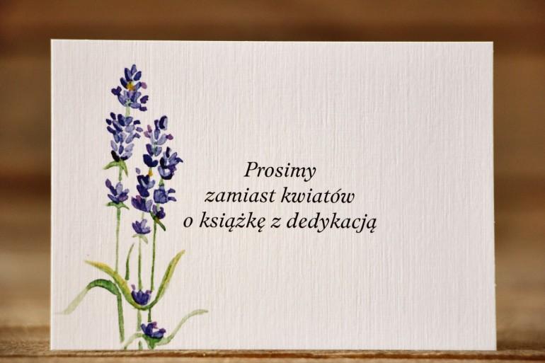 Bilecik do zaproszenia ślubnego 105 x 74 mm - Malowane Kwiaty nr 8 - Lawenda - wierszyki o prezentach, wesele