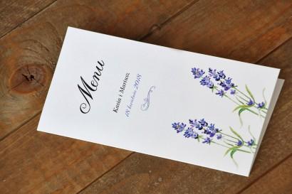 Menu weselne - Malowane Kwiaty nr 8 - Lawenda - dodatki ślubne, akcesoria na stół weselny