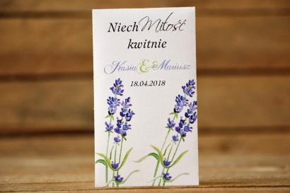 Podziękowania dla Gości weselnych - Nasiona Niezapominajki - Malowane Kwiaty nr 8 - Lawenda - dodatki ślubne