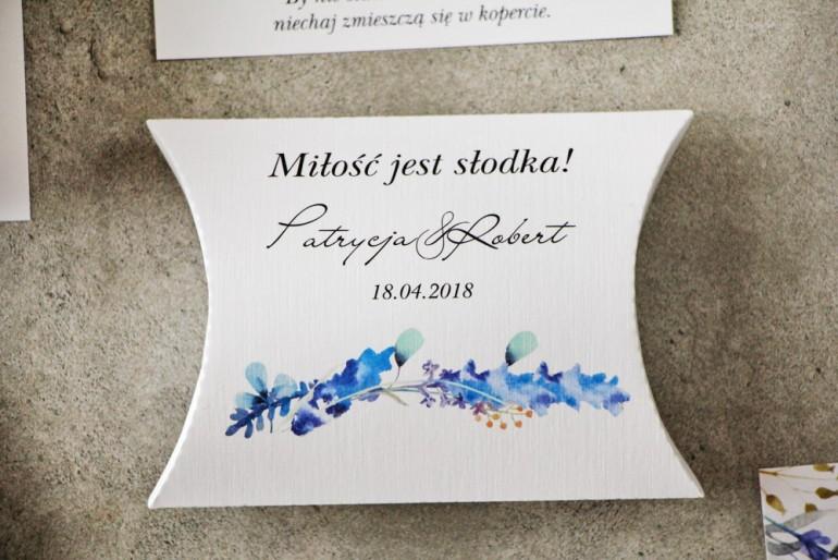 Pudełeczko poduszeczka na cukierki, podziękowania dla Gości weselnych - Pistacjowe nr 7 - Zimowe gałązki