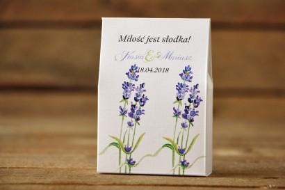 Pudełeczko stojące na cukierki, podziękowania dla Gości weselnych - Malowane Kwiaty nr 8 - Lawenda - dodatki ślubne