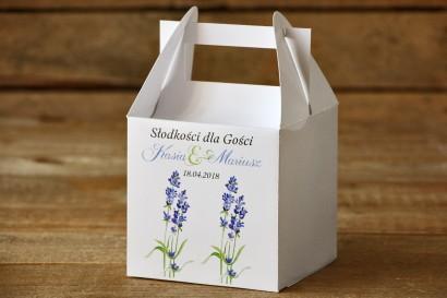 Pudełko na ciasto, tort weselny, kwadratowe - Malowane Kwiaty nr 8 - Lawenda - dodatki ślubne