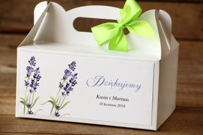 Pudełko na ciasto, tort weselny, prostokątne - Malowane Kwiaty nr 8 - Lawenda - dodatki ślubne