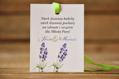 Zawieszka na butelkę, wódka weselna, ślub - Malowane Kwiaty nr 8 - Lawenda - dodatki ślubne