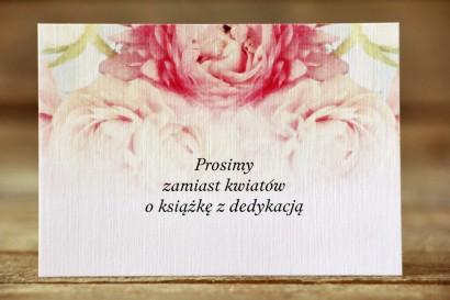 Bilecik do zaproszeń ślubnych 105 x 74 mm - Malowane Kwiaty nr 9 - Pudrowe piwonie - wierszyki o prezentach