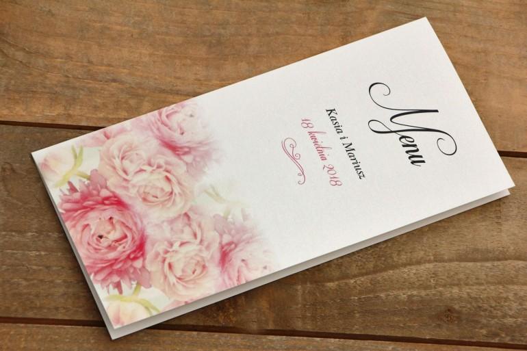 Menu weselne - Malowane Kwiaty  nr 9 - Pudrowe piwonie - dodatki ślubne, akcesoria na stół weselny