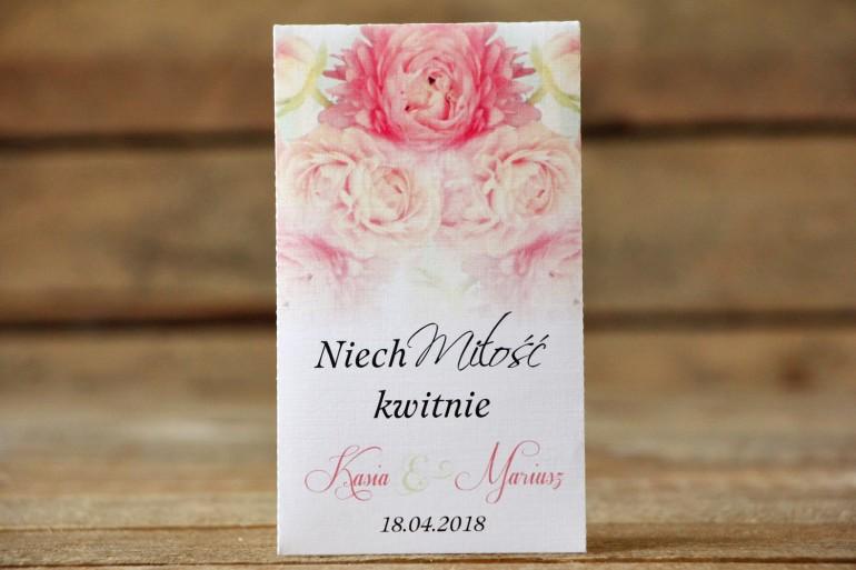 Podziękowania dla Gości weselnych - Nasiona Niezapominajki - Malowane Kwiaty nr 9 - Pudrowe piwonie - dodatki ślubne