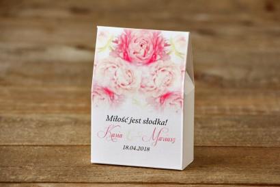 Pudełeczko stojące na cukierki, podziękowania dla Gości weselnych - Malowane Kwiaty nr 9 - Pudrowe piwonie - dodatki ślubne