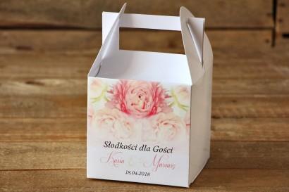 Pudełko na ciasto, tort weselny, kwadratowe - Malowane Kwiaty nr 9 - Pudrowe piwonie - dodatki ślubne