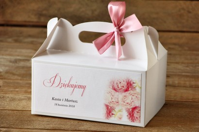 Pudełko na ciasto, tort weselny, prostokątne - Malowane Kwiaty nr 9 - Pudrowe piwonie - dodatki ślubne
