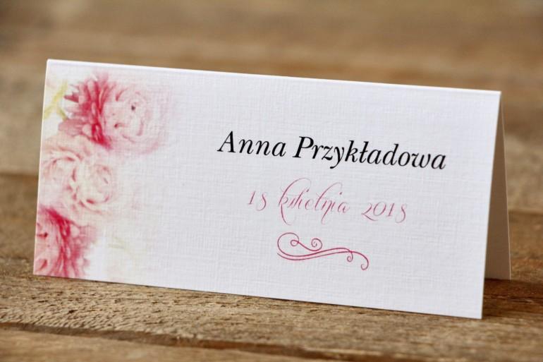 Winietki na stół weselny, ślub - Malowane Kwiaty nr 9 - Pudrowe piwonie - dodatki ślubne