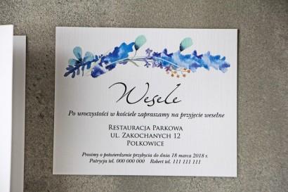 Bilecik do zaproszenia 120 x 98 mm prezenty ślubne wesele - Pistacjowe nr 7 - Delikatne błękitne zimowe gałązki