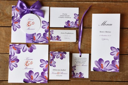 Zaproszenia ślubne z dodatkami - Malowane Kwiaty nr 10 - Fioletowe krokusy - papeteria ślubna