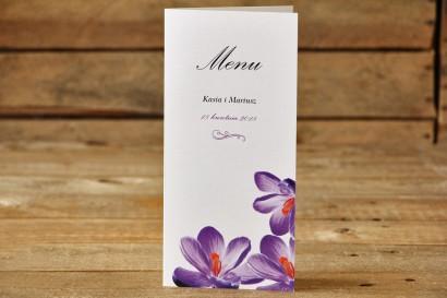 Menu weselne - Malowane Kwiaty nr 10 - Fioletowe krokusy - dodatki ślubne, akcesoria na stół weselny