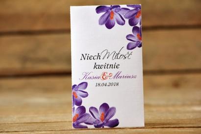Podziękowania dla Gości weselnych - Nasiona Niezapominajki - Malowane Kwiaty nr 10 - Fioletowe krokusy - dodatki ślubne