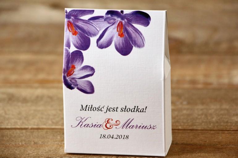 Pudełeczko stojące na cukierki, podziękowania dla Gości weselnych - Malowane Kwiaty nr 10 - Krokusy - dodatki ślubne