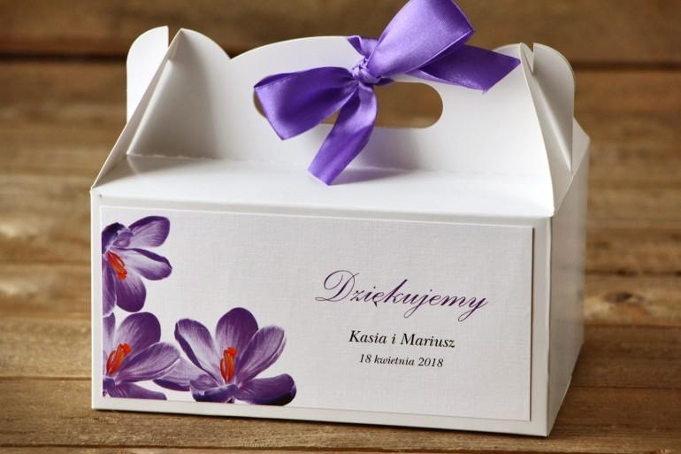 Pudełko na ciasto, tort weselny, prostokątne - Malowane Kwiaty nr 10 - Fioletowe krokusy - dodatki ślubne