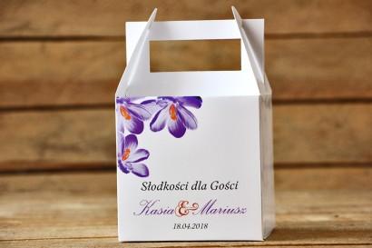 Pudełko na ciasto, tort weselny, kwadratowe - Malowane kwiaty nr 10 - Fioletowe krokusy - dodatki ślubne