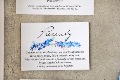 Bilecik do zaproszenia 105 x 74 mm prezenty ślubne wesele - Pistacjowe nr 7 - Delikatne błękitne zimowe gałązki