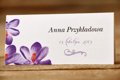 Winietki na stół weselny, ślub - Malowane Kwiaty nr 10 - Fioletowe krokusy - dodatki ślubne