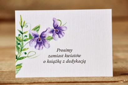 Bileciki do zaproszeń 105 x 74 mm - Malowane Kwiaty nr 11 - Fioletowe bratki
