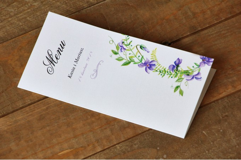 Menu weselne - Malowane Kwiaty nr 11 - Fioletowe bratki - dodatki ślubne, akcesoria na stół weselny
