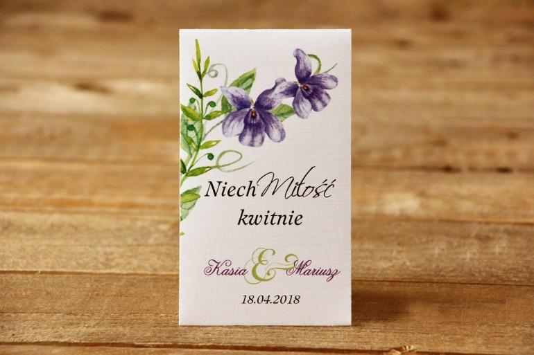 Podziękowania dla Gości weselnych - Nasiona niezapominajki - Malowane Kwiaty nr 11 - Fioletowe bratki - dodatki ślubne