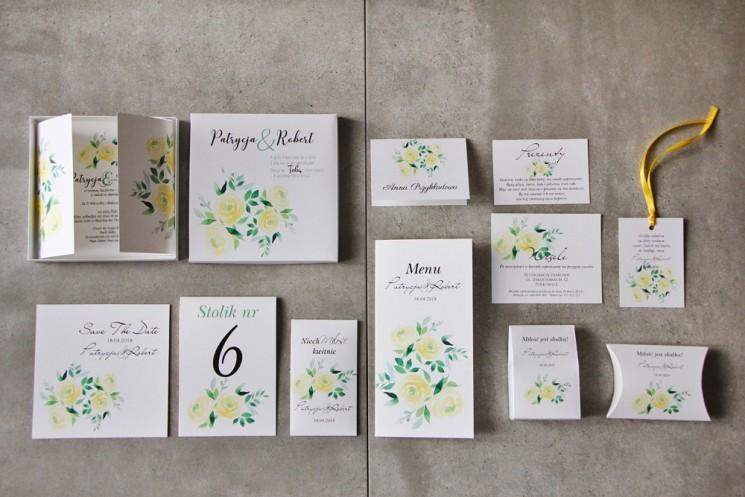 Efektowne zaproszenie ślubne w pudełku z dodatkami - Pistacjowe 9 - Delikatne akwarelowe żółte róże